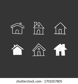 House doodle icons. Graphic design elements for stay at home campaign. Hand drawn illustrations.