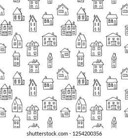 House doodle pattern - village vector illustration. Seamless texture in black and white.