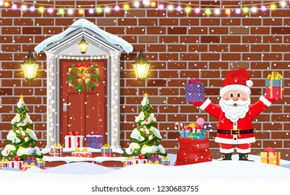 House door decoration for the Christmas holidays.Front door house exterior entrance and Santa Claus. Merry christmas holiday. New year and xmas celebration. Vector illustration flat style