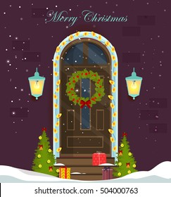 House door decoration for the Christmas holidays.Front door house exterior entrance with Christmas wreath and lanterns.Violet brick wall.Snow on stairs.Vector 10 eps. For banner,greeting cards design.