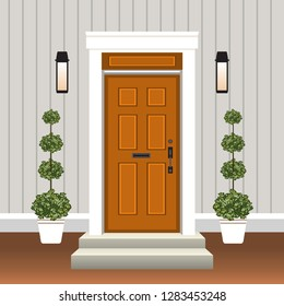 House door front with doorstep and steps, window, lamp, flowers in pot, building entry facade, exterior entrance design illustration vector in flat style