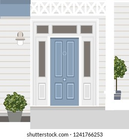 House door front with doorstep, window, steps, lamp and plants, building entry facade, exterior entrance design illustration vector in flat style