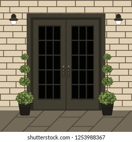 House door front with doorstep and window, lamp, flowers, building entry facade, exterior entrance with brick wall design illustration vector in flat style