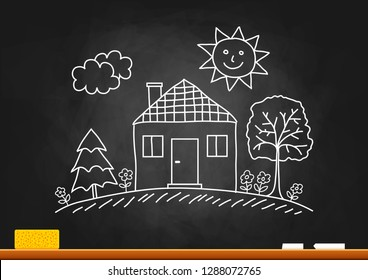 House drawing on blackboard