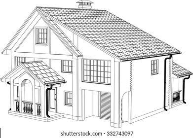 The house drawing in the vector. The contours of the house.