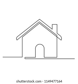 The house is drawn by one black line on a white background. Continuous line drawing. Vector illustration