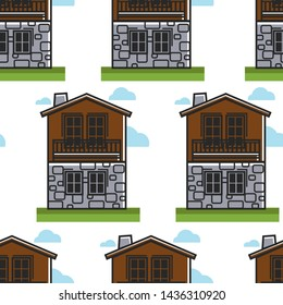 House or dwelling Bulgarian architecture seamless pattern travel to Bulgaria vector wooden and stone walls with chimney and windows endless texture building or two-storey construction wallpaper print.