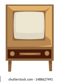House electric appliance, TV set of 50s, retro device in 1950s style isolated screen with wooden panel vector. Television for living room, old technology. Watch movie or video broadcasting, home item