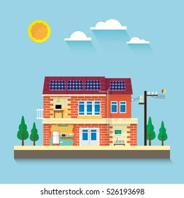 the house with electrical appliance use electric from solar cell roof top