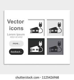 House with electricity plug flat placed on web page template vector icon.