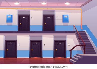 House entrance interior, empty hallway or corridor with numbered doors, stairs, tiled floor and electric meter boxes on wall, cross section view, apartments in condominium. Cartoon vector illustration