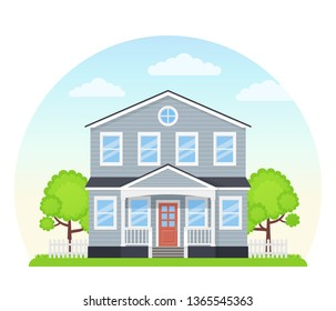 House exterior, front. Vector. Home building facade. Landscape of residential neighborhood, townhouse. Modern cottage with roof, porch, tree, yard. Suburb architecture. Cartoon flat illustration.