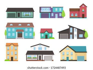 House exterior front view with roof. Modern. Home facade with doors and windows. Collection of cottage, modern architecture. Idea of real estate. Modern buildings in a flat style. Vector illustration.