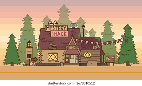 The house is fabulous, cartoon. Village cottage. House in the forest. Holiday Cottage, cottage. A cozy house. One-storey house with an attic. For the family. Vector illustration. Isolated object. Grav