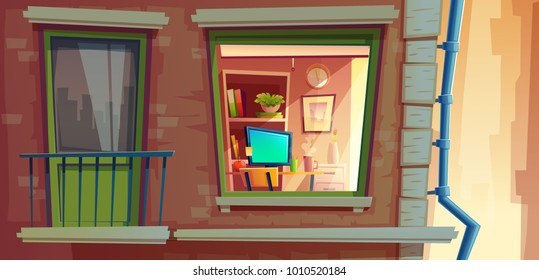 House facade element vector cartoon illustration of city apartments outside wall with window and balcony. Many storied house building with room view inside window from outdoor street with rain pipe