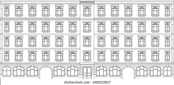 house facade front view city street , architecture building sketch with shop door and windows at wall , vector illustration