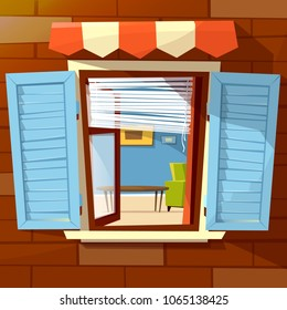 House facade open window vector illustration of window with wooden shutters and room interior view inside. Flat cartoon design of old or modern awning on brick wall background