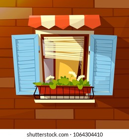 House facade vector illustration of window with wooden shutters, sunblind awning and flowerpot. Modern or old retro window facade on brick wall outdoor view flat cartoon design