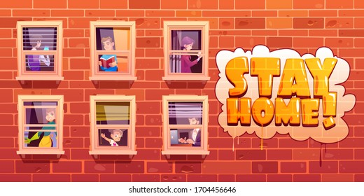 House facade with windows and people act. Stay home lettering on brick wall of apartment building. Vector cartoon illustration with man reading book, woman cleans, neighbors work and use smartphone