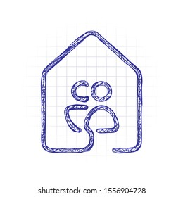 house with family or couple icon. line style. Hand drawn sketched picture with scribble fill. Blue ink. Doodle on white background
