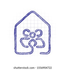 house with family icon. line style. Hand drawn sketched picture with scribble fill. Blue ink. Doodle on white background