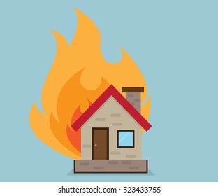 House with Fire, Home Ilsurance with Fire Concept Vector Illustration