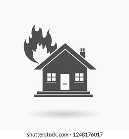 House Fire Icon Vector Illustration Silhouette.