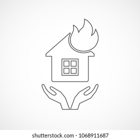 house with fire outline icon