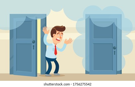 House fire. A shocked man watches clouds of smoke from a neighbor's door go up. Smoke in the living home. Failed cooking, problem with electricity.Vector illustration, flat design, cartoon style.