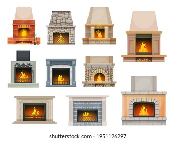 House fireplace with firewood flames. Home open cartoon vector hearth fireplaces made of bricks, stone and decorated ceramic tiles mantel, metal grates, poker and shove, wood chunks
