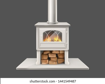 House fireplace with painted in white, metallic or marble stone firepit and chimney pipe, closed door with fireproof glass fire-box, flaming firewood inside isolated 3d realistic vector illustration