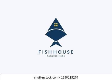 House fish logo design. Fish restaurant logo. Seafood illustration