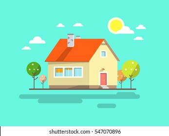 House. Flat Design Urban Landscape. Vector Abstract Architecture Illustration.