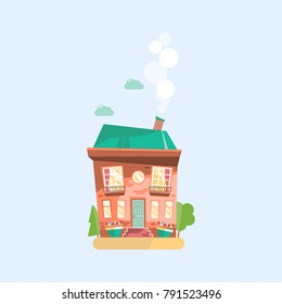 House. Flat design urban landscape. Vector abstract architecture cartoon illustration.