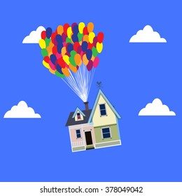 House flies on the balloons. vector. illustration