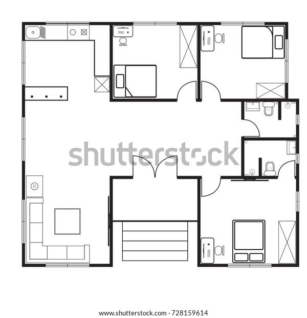 House Floor Plan 3 Bedroom 2 Stock Vector (Royalty Free ...