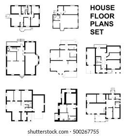 House floor plans set. Vector unfurnished floor plans for your design.