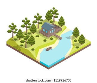 House Forest Lake Concept 3d Isometric View Include of Tree, Building, Water and Meadow. Vector illustration of Tourism