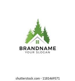 House forest logo design vector