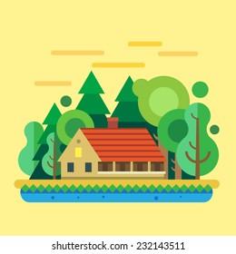 House in  forest, summer landscape. Vector flat illustration