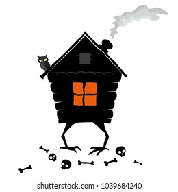 The House of Forest witch on white background. A hut on chicken legs. Vector EPS 8.