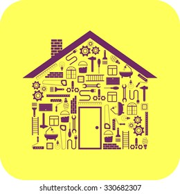 house in the form of tools, repair, on yellow background