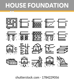 House Foundation Base Collection Icons Set Vector. Concrete And Brick Building Foundation, Broken And Rickety Basement, Plan And Size Concept Linear Pictograms. Contour Illustrations