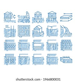 House Foundation Base sketch icon vector. Hand drawn blue doodle line art Concrete And Brick Building Foundation, Broken And Rickety Basement, Plan And Size Illustrations