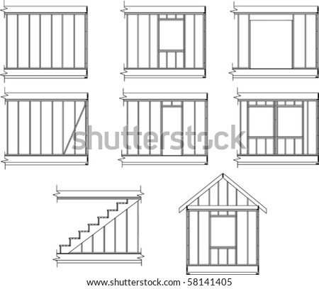 House Framing Details Stock Vector (Royalty Free) 58141405 ...