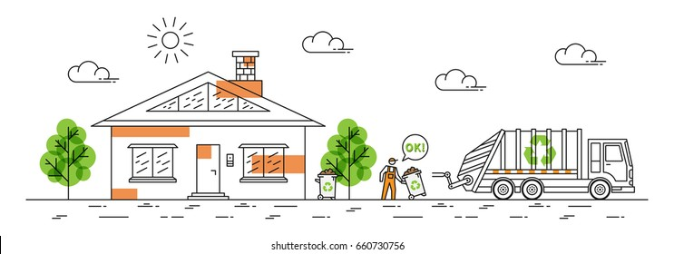 House and garbage truck with recycle sign vector illustration. Dustman carries out rubbish bin line art concept. Refuse collector removes garbage near by house building graphic design.