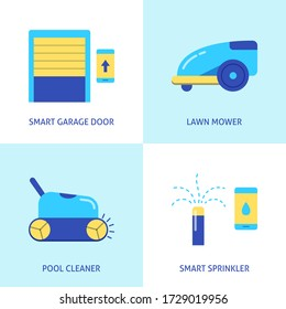 House and garden automation icon set in flat style. Remote controlled garage door, lawn mower, pool cleaner and smart sprinkler. Vector illustration.