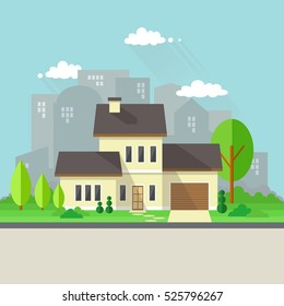 House with Garden and City Background.Isolated Countryside House Scenery.Flat Style Vector Illustration.