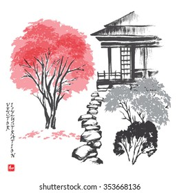 """House in a garden with a footpath. Vector illustration. Hieroglyph """"harmony""""."""
