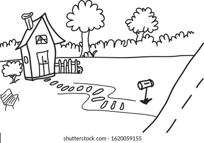 House Garden hand-drawn save as SVG to use in sparkol videoscribe